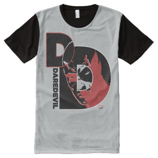 Daredevil Face In Logo All-Over Print T-Shirt