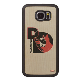 Daredevil Face In Logo Wood Phone Case