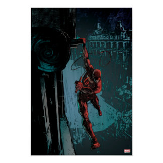 Daredevil Hanging From A Ledge Poster