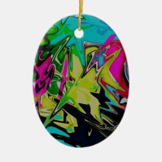 Dark Abstract Molten Color Drip Ceramic Oval Decoration