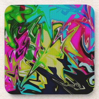 Dark Abstract Molten Color Drip Coaster