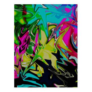 Dark Abstract Molten Color Drip Postcard