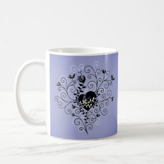 Dark Abstract Whimsical Fixed Broken Heart Coffee Mug