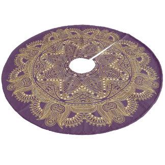 Dark Amethyst Purple Mandala Star Pattern Fleece Tree Skirt