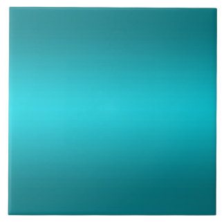 Dark and Light Aqua Blue Gradient - Turquoise Ceramic Tile