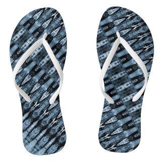 Dark and light blue pattern thongs