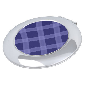 Dark And Light Blue Plaid Pattern Compact Mirror