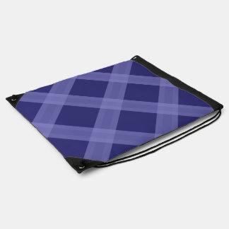 Dark And Light Blue Plaid Pattern Drawstring Bag