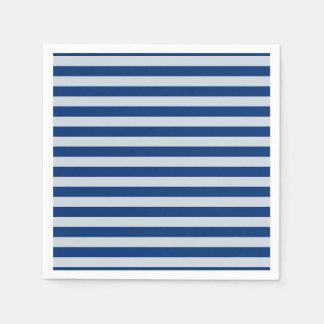 Dark and Light Blue Stripes Disposable Napkins
