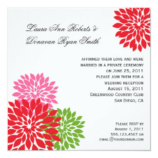 Dark and Pale Pink Lime Green Flower Petals 13 Cm X 13 Cm Square Invitation Card
