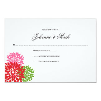 Dark and Pale Pink Lime Green Flower Petals RSVP Card