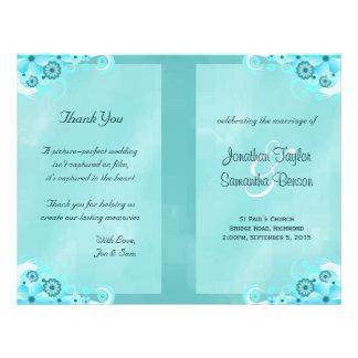 Dark Aqua Blue Floral Teal Bi-Fold Wedding Program 21.5 Cm X 28 Cm Flyer