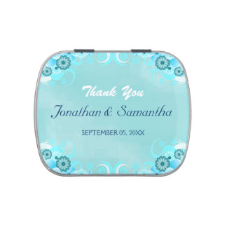 Dark Aqua Blue Floral Wedding Favor Square Tins Jelly Belly Tins