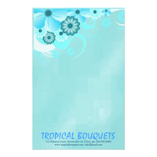 Dark Aqua Blue Hibiscus Florist Stationery Paper