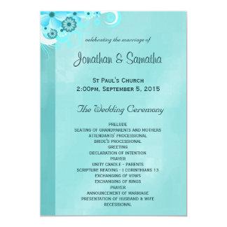 Dark Aqua Sea Blue Hibiscus Floral Wedding Program 13 Cm X 18 Cm Invitation Card