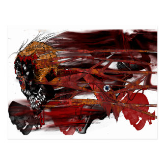 dark art skull postcard