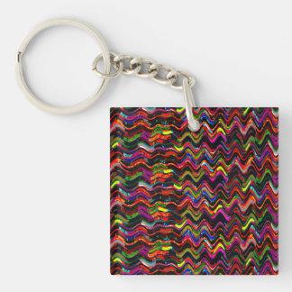 Dark Artistic Waves Patterns Happy Celebrations Key Ring