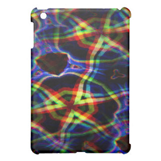 Dark background electric yellow and orange pattern iPad mini cases
