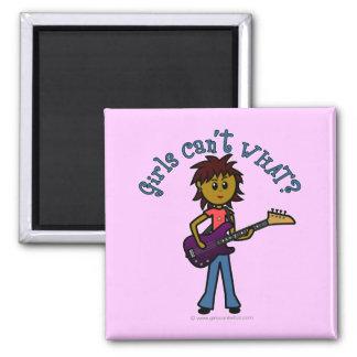 Dark Bass Guitar Girl Fridge Magnets