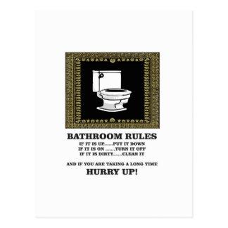 dark bathroom rules postcard