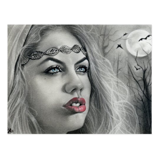 Dark Beauty moon shadows postcard
