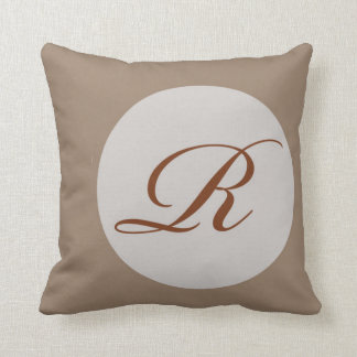 Dark Beige Monogram R Polyester Lumbar Pillows