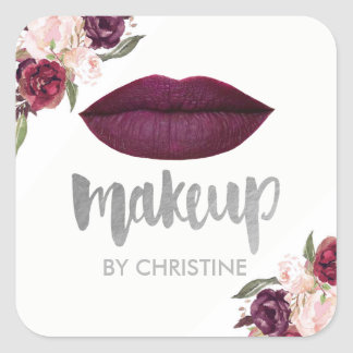 dark berry lips makeup calligraphy square sticker