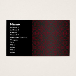Dark Black and Red Damask Business Card