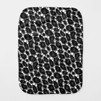 Dark Black Cheetah Baby Burp Cloths