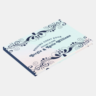 Dark-Blu Swirly Wedding Lace Border Guest Book