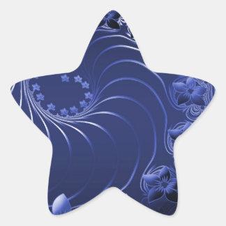 Dark Blue Abstract Flowers Star Stickers
