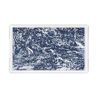 Dark Blue Abstract Pattern Acrylic Tray