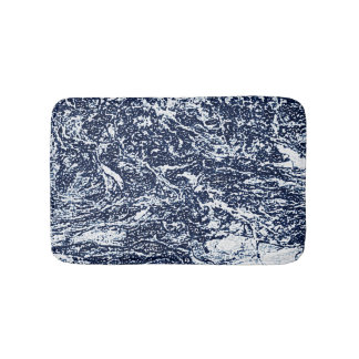 Dark Blue Abstract Pattern Bath Mat
