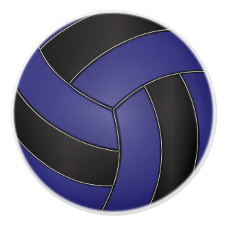 Dark Blue and Black Volleyball Ceramic Knob
