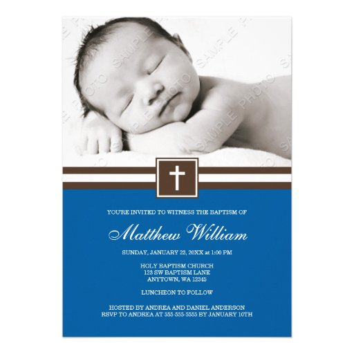Dark Blue and Brown Cross Boy Photo Baptism Personalized Announcements