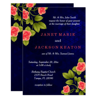Dark Blue and Coral Rose Wedding Card