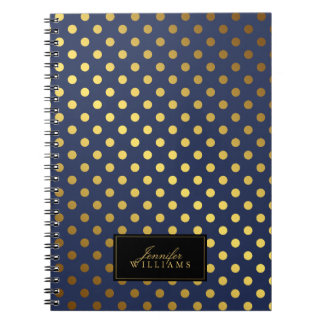 Dark Blue and Faux Gold Foil Polka Dots Notebook