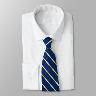 Dark Blue and Gold Metallic Thick Diagonal Stripes Tie