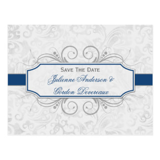 Dark Blue and Gray Damask Save The Date Postcards