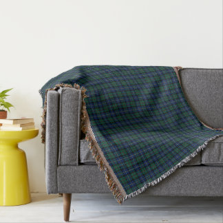 Dark Blue and Green MacLeod of Skye Clan Plaid Throw Blanket