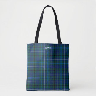 Dark Blue and Green Plaid Douglas Tartan Monogram Tote Bag