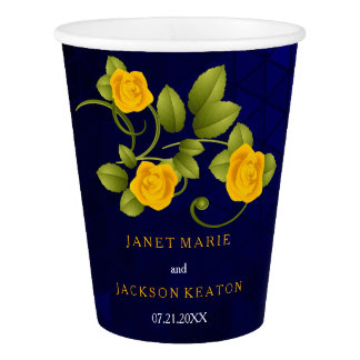 Dark Blue and Marigold Yellow Rose Wedding Paper Cup