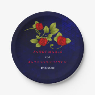 Dark Blue and Red Rose Wedding Paper Plate