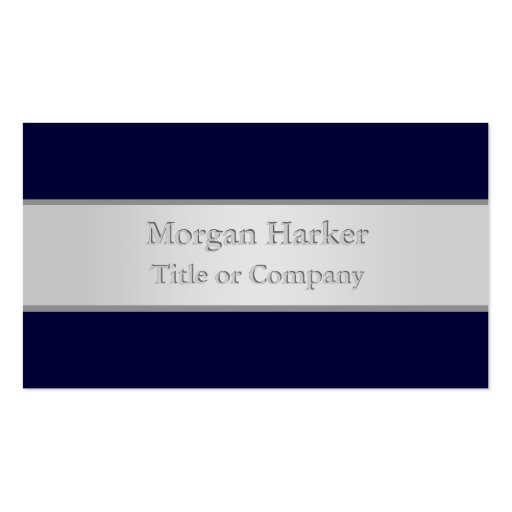 Dark Blue and Silver Business Card