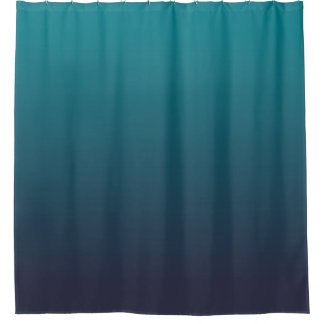 Dark Blue and Teal Ombre Shower Curtain