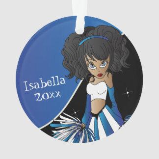 Dark Blue and White Cheerleader Girl Ornament