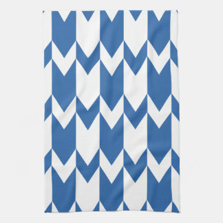 Dark Blue and White Chevron Pattern. Tea Towel
