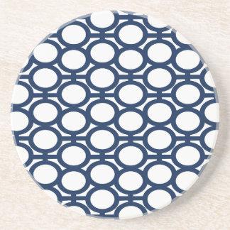 Dark Blue and White Eyelets Coaster