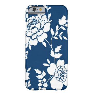 Dark Blue and white flower design iPhone 6 case