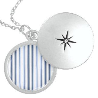 Dark Blue and White Mattress Ticking Narrow Stripe Sterling Silver Necklace